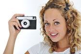 Izole kamera ile şirin kız — Stok fotoğraf