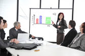 Business meeting - group of in office at presentation with flipchart — Stock Photo