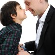 Stock Photo: Happy father and son playing with noses