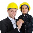 Stock Photo: Father and son as engineers