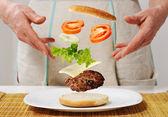 Making burger skills — Stock Photo