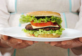 Burger on plate in hands — Stock Photo