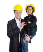 Baba ve oğul mimarlar oynama — Stok fotoğraf
