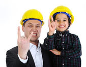 Father and son as architects rocks — Stock Photo