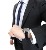 Reloj a hombre de negocios de mano muñeca — Foto de Stock