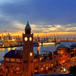 Stock Photo: Hamburg Landungsbruecken sunset RF