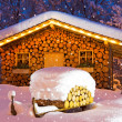 Ski hut winter christmas — Stock Photo