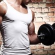 Muscular guy doing exercises with dumbbell — Stock Photo #12791542