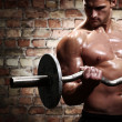 Muscular guy doing exercises with barbell — Stock Photo #12791661