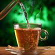 Hot green tea in glass teapot and cup — Stock Photo #12791722