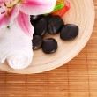 Plate with some inventory for massage — 图库照片