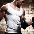 Muscular guy doing exercises with dumbbell — Foto de Stock