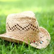 Royalty-Free Stock Photo: Straw hat on the grass