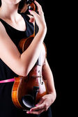 Woman with the violin — Stock Photo
