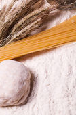 Spaghetti with flour and ears of wheat — Stock Photo