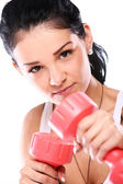 Attractive fitness girl with dumbbells boxing — Stock Photo