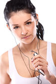 Young and attractive girl with headphones — Stock Photo