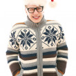 Funny man with glasses in christmas hat — Stock Photo #16686961