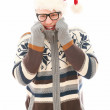 Funny man with glasses in christmas hat — Stock Photo #16687883