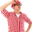 Portrait of Man with glasses in red helmet — Stock Photo