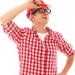 Portrait of Man with glasses in red helmet — Stock Photo #16689815