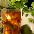 Fresh cold tea with lime, mint and lemon — Stock Photo #16851881