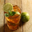 Fresh cold tea with lime, mint and lemon — Stock Photo
