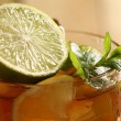 Fresh cold tea with lime, mint and lemon — Stock Photo #16851977
