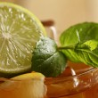 Fresh cold tea with lime, mint and lemon — Stock Photo #16851979