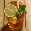 Fresh cold tea with lime, mint and lemon — Stock Photo #16852007