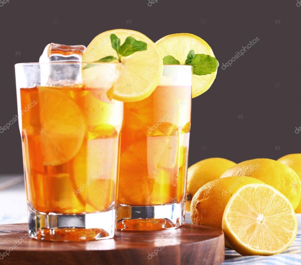ice tea with sliced lemon  Lemon Iced Tea In A Can