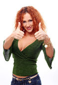 Attractive redhead woman showing thumbs up — Stock Photo