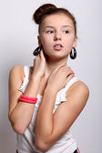 Fashion and modern teenage girl in studio — Stock Photo