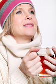 Mid age Woman With Hot tea Wearing Winter Clothes — Stock Photo