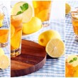 Cold ice tea with sliced lemon and mint collage — Stock Photo