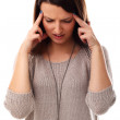 Pretty girl have headache isolated on a white — Stock Photo