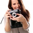Stock Photo: Young and pretty girl with photo camera