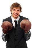 Handsome man in boxing gloves portrait — Foto de Stock