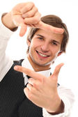 Handsome man with finger frame gesture — Stock Photo