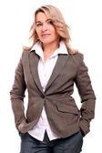 Portrait of 40 years old woman in office suit — Stock Photo