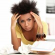 Young black woman tired from studying — Stock Photo #17880763