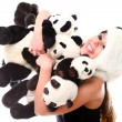 Woman in panda suit with little pandas — Stock Photo