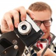 Guy with old camera make a photo shoot of you — Stock Photo