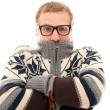 Guy in sweater feel cold over a white background — Stock Photo #17882529