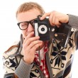 Guy with old camera make a photo shoot of you — Stok fotoğraf