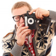 Guy with old camera make a photo shoot of you — Stock Photo #17882733