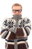 Guy in sweater feel cold over a white background — Stock Photo