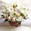 Close up of beautiful bride flowers bouquet — Stock Photo