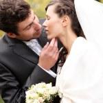 hermosa novia y el novio feliz en el parque otoño — Foto de Stock   #18078209