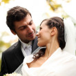Beautiful bride and happy groom in autumn park - Stock Photo